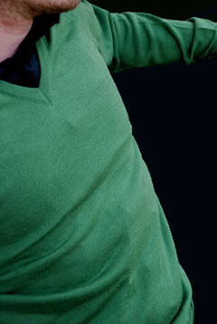Green Mens Merino V Neck